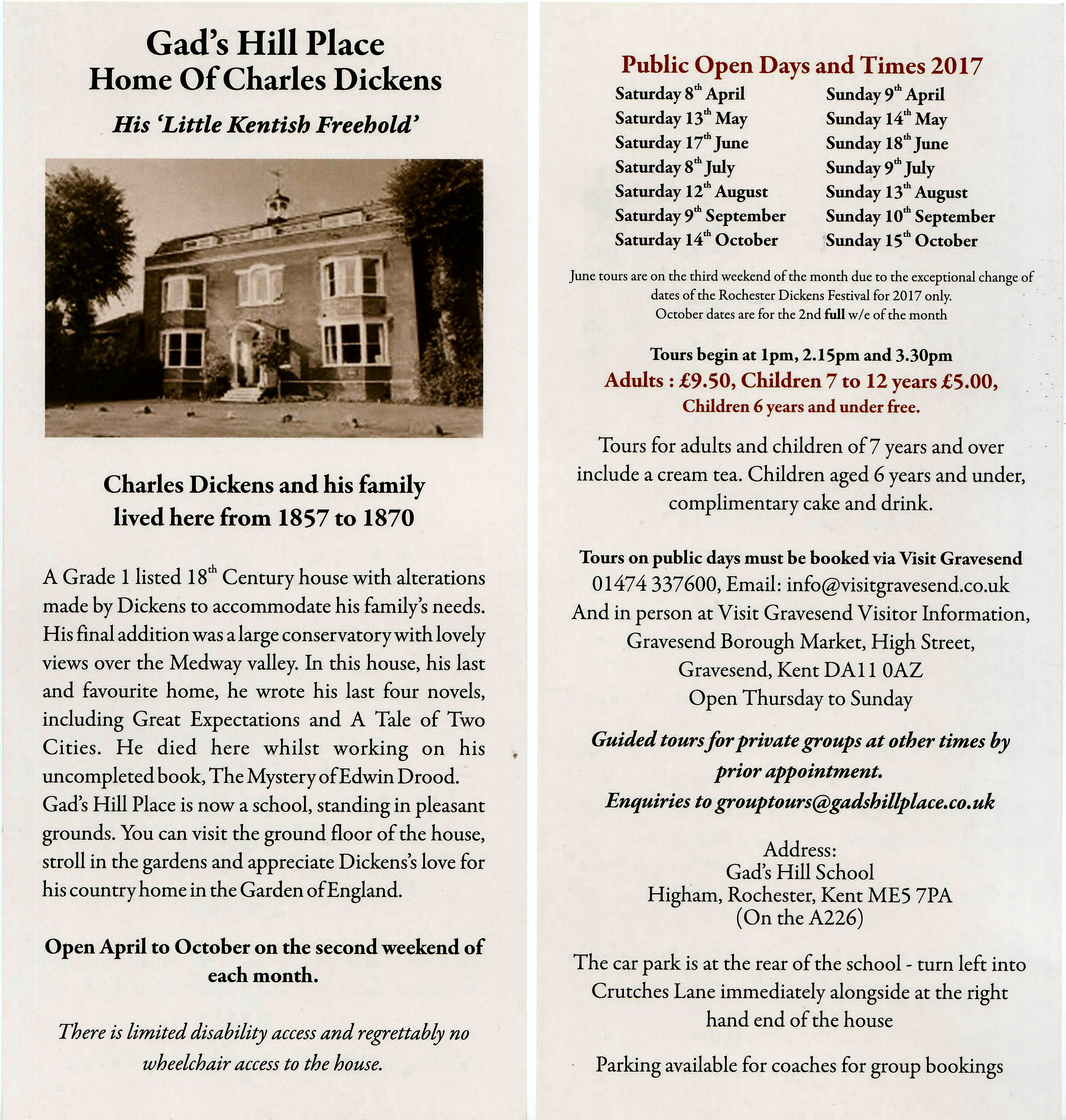 Gads Hill Place Near Higham In Kent Will Again Be Open To The Public On Specific Days 2017 Courtesy Of Guides From Rochester Chatham Branch